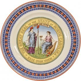 C. 1871 State Of North Carolina Wedgwood Plate
