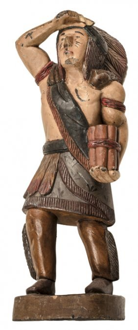 Countertop Cigar Store Indian Hand-painted Wood