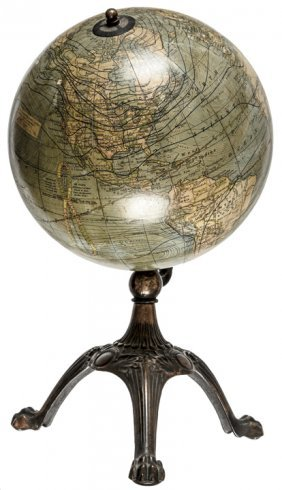 "C.s. Hammond 8"" Terrestrial Globe On Brass Stand"