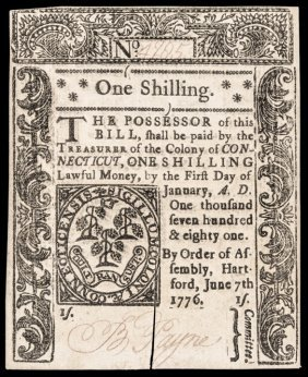 Colonial Currency, Ct. June 7, 1776. 1s. Ch. Cu