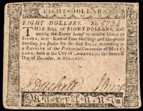 Colonial Currency, Md. December 7, 1775 $8 Ch Vf