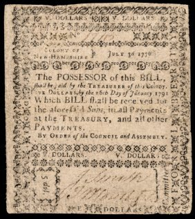 Colonial Currency. Nh. July 3, 1776. 5 Dollars