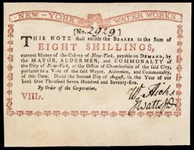 Colonial Currency Ny Water Works Aug 1775 Ch. Au