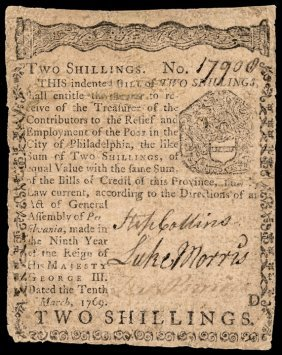 Colonial Currency, Pa. March 10, 1769. 2s. Vf