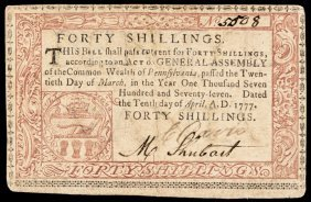 Colonial Currency Pa. April 10, 1777 Red + Black
