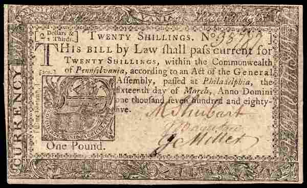 Colonial Currency PA. March 16, 1785 20s VF