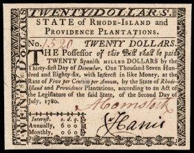 Colonial Currency Ri. July 2, 1780 $20 Superb Cu
