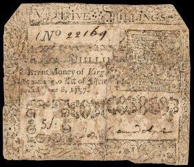 Colonial Currency, Va. 1757 5s, Peyton Randolph