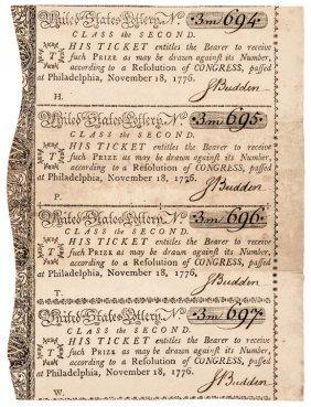 1776 Continental Congress Lottery Ticket Sheet