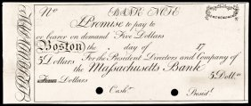 Obsolete Boston, Ma. Massachusetts Bank $5 Proof