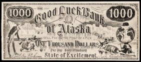 Advertising Note, Good Luck Bank Of Alaska 1000