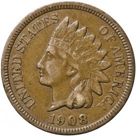 1908-s Indian Head Cent. Key Date. Choice Vf-ef