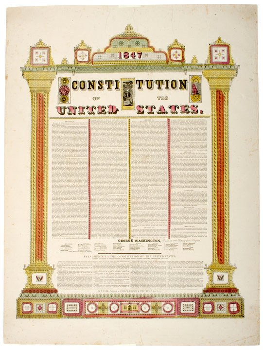 2001: CONSTITUTION OF THE UNITED STATES, 1847 Broadside