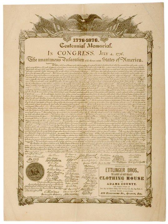 2002: DECLARATION OF INDEPENDENCE, c. 1876 Broadside