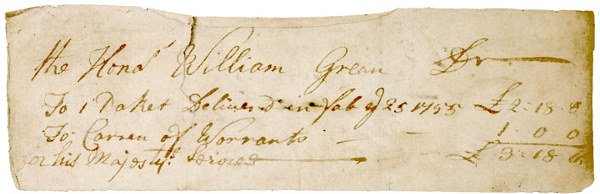 2007: Governor WILLIAM GREENE, 1755 Document Signed