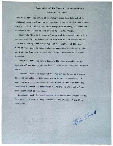 2011: JOHN F. KENNEDY, Congressional Tribute Documents