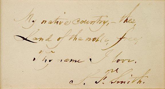 2020: SAMUEL FRANCIS SMITH Autograph Manuscript Signed