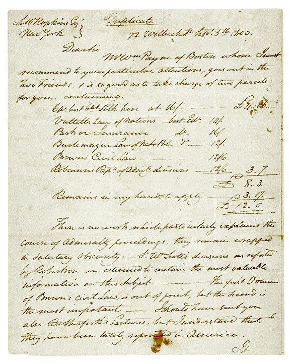 2024: Painter, JOHN TRUMBULL Autograph Letter 1800
