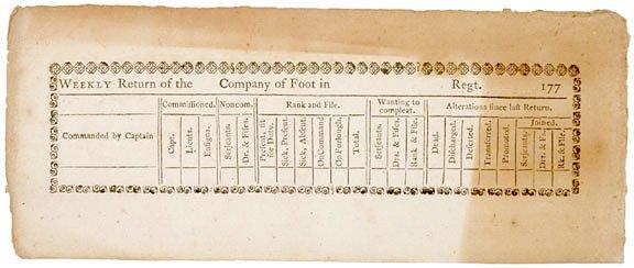 2043: Printed WEEKLY RETURN of Foot Regiments, 1770s