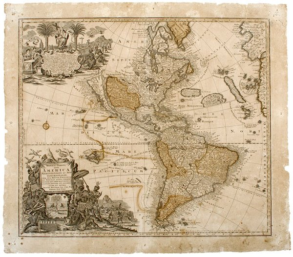 2475: Seuters Large Map of the Americas, c. 1730