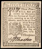 BEN FRANKLIN Colonial Currency PA. 1764 3d Note
