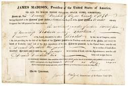 1816 President JAMES MADISON Signed Land Grant