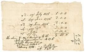 1781 Revolutionary War Rare CT. Currency Receipt
