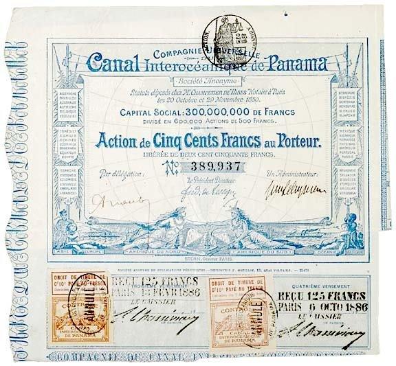 2001: PANAMA CANAL 1880 Bond Certificate 500 Francs