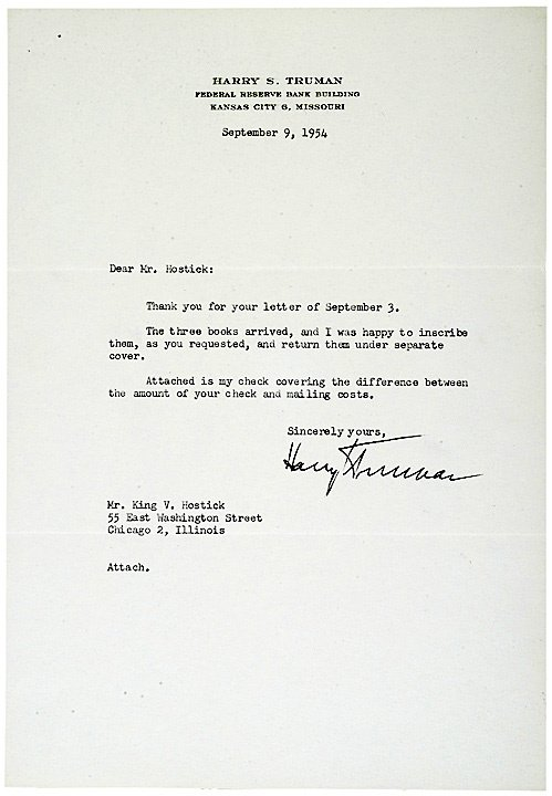 2002: HARRY S TRUMAN Typed Letter Signed 1954