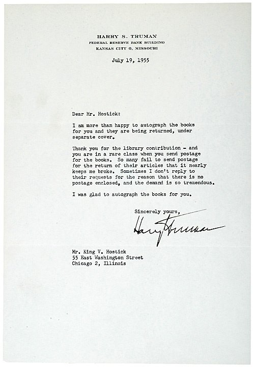 2003: HARRY S TRUMAN Typed Letter Signed 1955