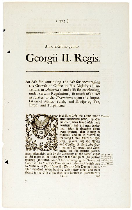 2007: British ACTS Relating to Coffee and Sugar, 1748