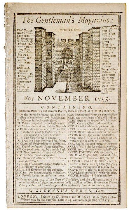2008: THE GENTLEMAN'S MAGAZINE, November 1755