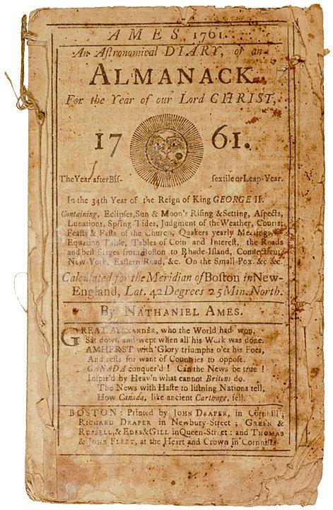 2010: Ames Colonial Boston Area ALMANACK for 1761