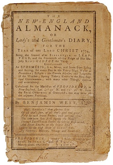 2011: The New-England ALMANACK, 1774, Benjamin West