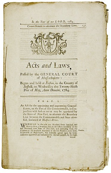 2013: 1784 Book, Acts and Laws: Court of Massachusetts