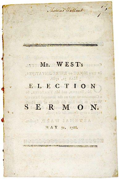 2014: 1786 SAMUEL WEST Election Sermon, Boston, Mass.