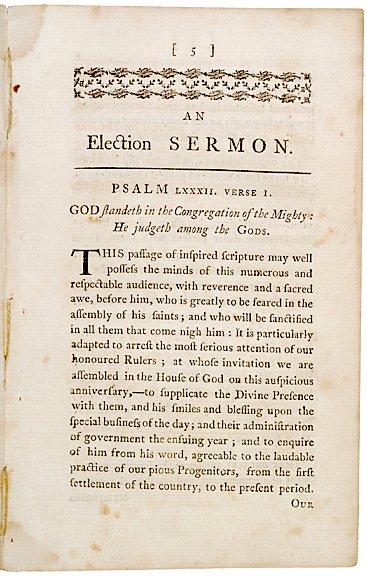 2015: 1789 PRINT Josiah Bridge Election Sermon, Boston