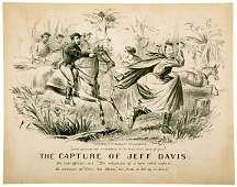 2122 THE CAPTURE OF JEFF DAVIS Lithograph c 1865