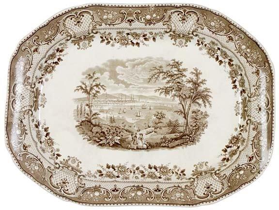 2158: c. 1840s, Brown Staffordshire Platter