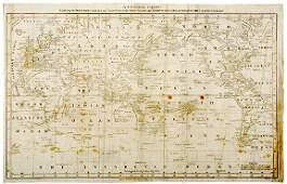 2212 Map of Captn James Cook Voyages c 1781