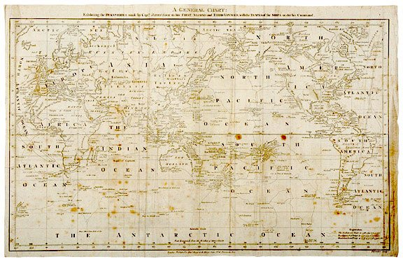 2212: Map of Captn. James Cook Voyages, c. 1781