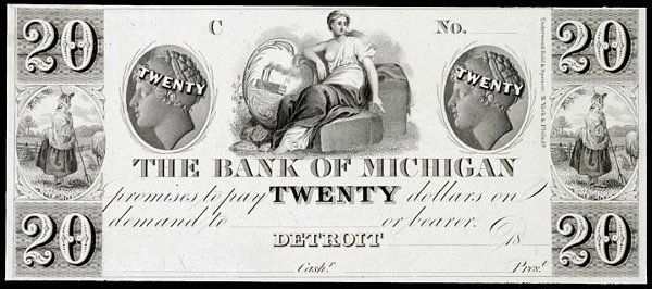 2288: Obsolete Currency, Detroit, MI, $20, Proof
