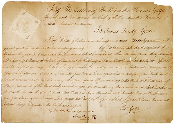 2: Revolutionary War Documents, 1775, Thomas Gage - 4