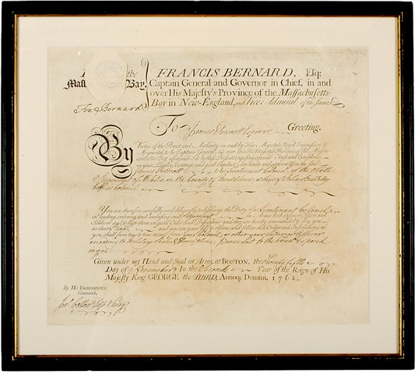 6: FRANCIS BERNARD, Military Commission Signed, 1761