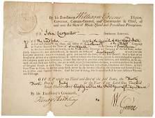 202: 1780 RI Military Comm. Signed by Gov. Greene