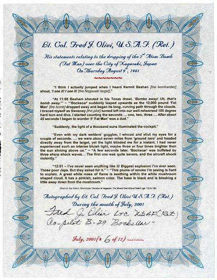 3007: A-Bomb Co-Pilot, Fred J. Olivi, Signed Document