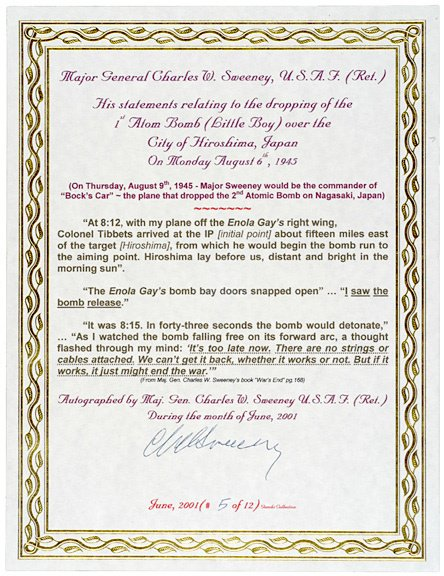 3008: A-Bomb Pilot, Charles Sweeney, Signed Document