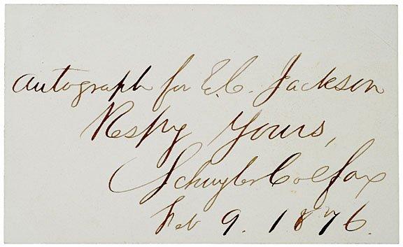 3013: SCHUYLER COLFAX Inscribed Autograph, 1876