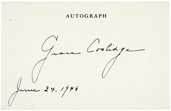 3014: GRACE COOLIDGE Signature, 1946