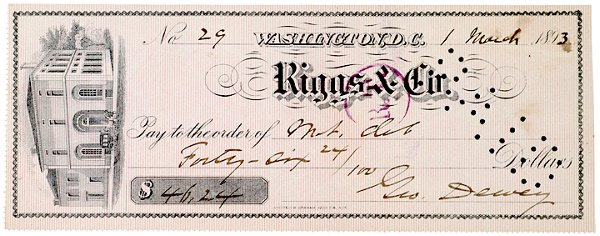 3016: GEORGE DEWEY, Naval Officer, Signed Check